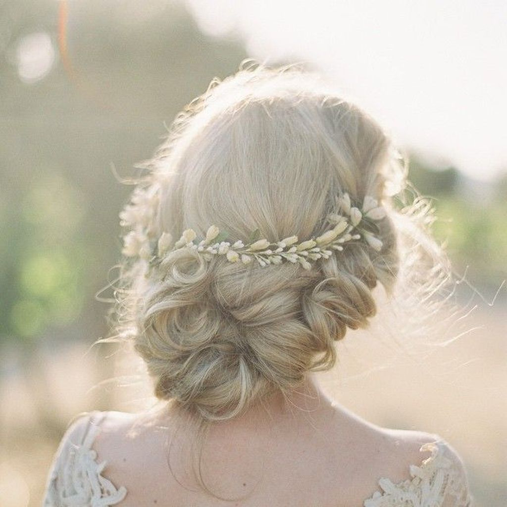 Well Known Embellished Twisted Bun For Brides For 40 Newest Wedding Hairstyle Twisted Low Bun Ideas With Flower Crown (View 19 of 20)