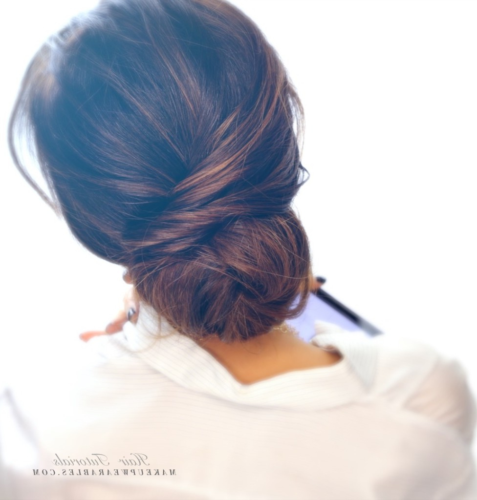 Well Known Low Twisted Bun Wedding Hairstyles For Long Hair Intended For 2 Minute Elegant Bun Hairstyle (View 11 of 20)