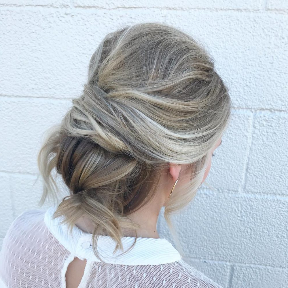 Well Known Undone Low Bun Bridal Hairstyles With Floral Headband Regarding 28 Cute & Easy Updos For Long Hair (2019 Trends) (View 16 of 20)