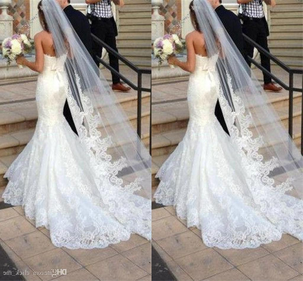 Well Known Wedding Hairstyles With Extra Long Veil With A Train Pertaining To Princess Wedding Veils Cheap Long Lace Bridal Veils One Layer Custom (View 12 of 20)