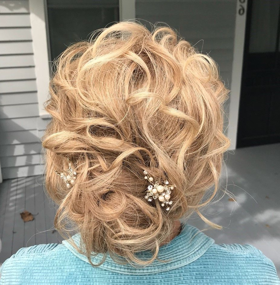 Well Liked Destructed Messy Curly Bun Hairstyles For Wedding Pertaining To 50 Ravishing Mother Of The Bride Hairstyles (View 19 of 20)
