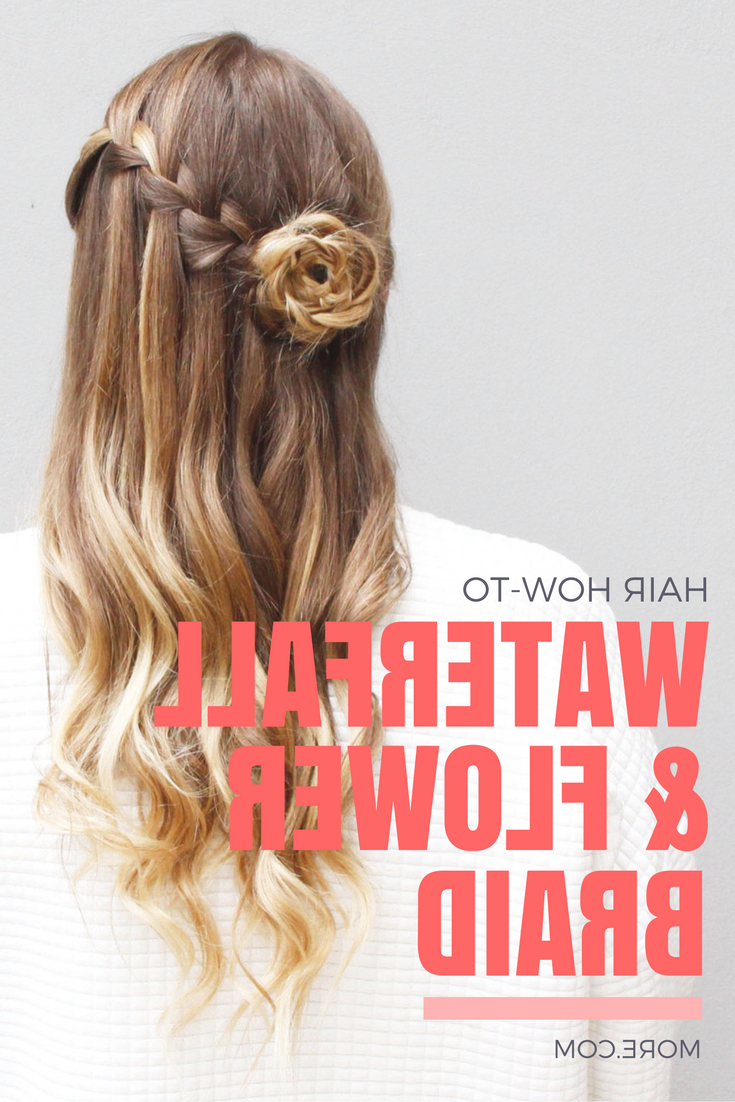 Well Liked Diagonal Waterfall Braid In Half Up Bridal Hairstyles Intended For How To Recreate This Whimsical Waterfall & Flower Braid Updo (View 19 of 20)