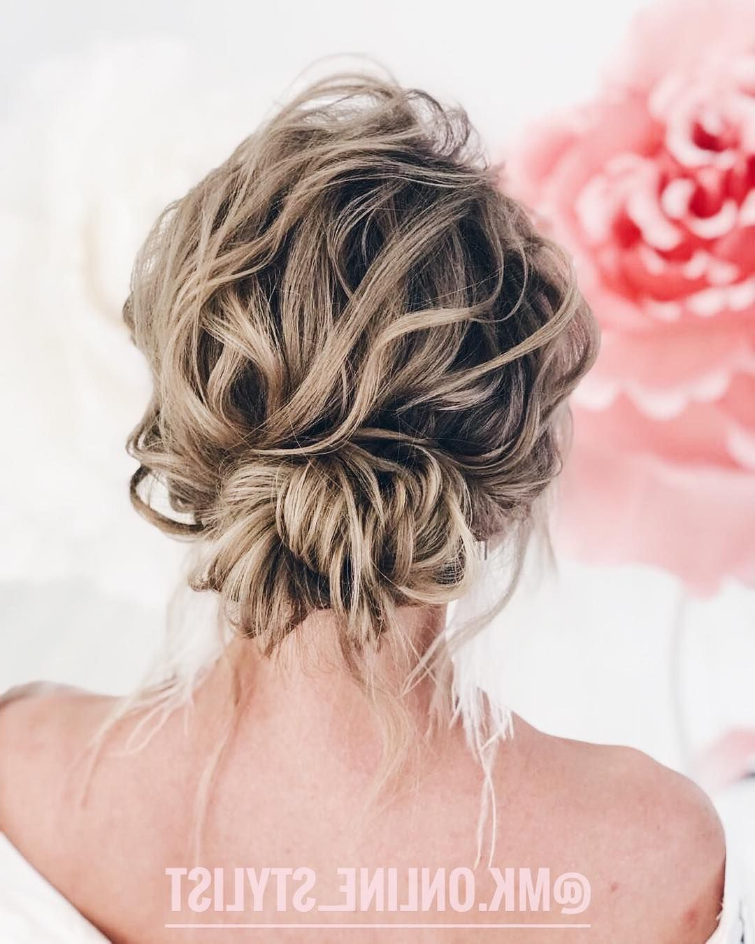 Widely Used Destructed Messy Curly Bun Hairstyles For Wedding In Textured Updo, Updo Wedding Hairstyles,updo Hairstyles,messy Updos (View 20 of 20)