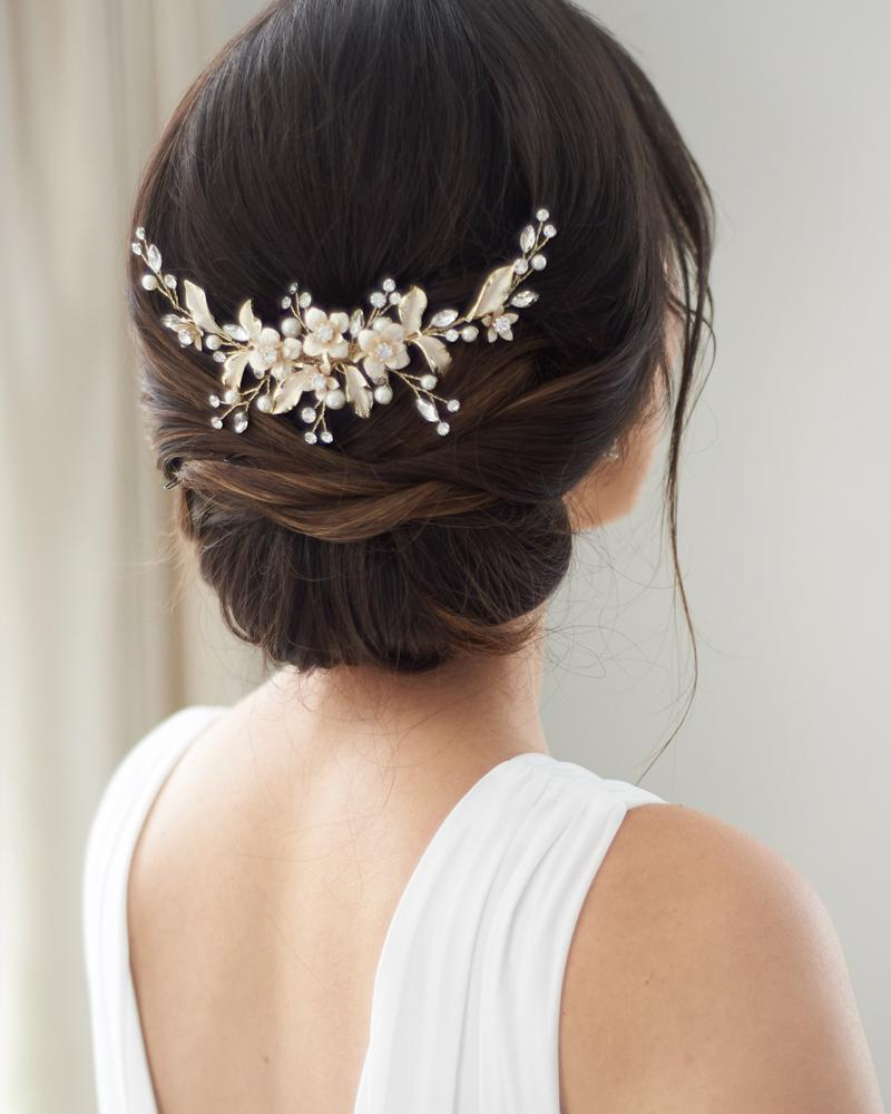 Widely Used Pearls Bridal Hairstyles Regarding Petite Pearl & Floral Backpiece In  (View 19 of 20)