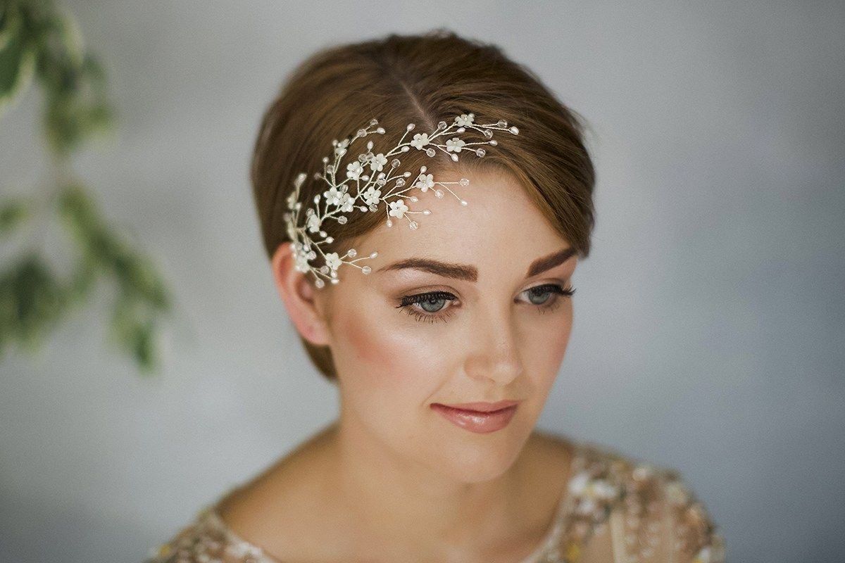 Widely Used Short Wedding Hairstyles With A Swanky Headband With Regard To How To Style Wedding Hair Accessories With Short Hair,debbie (Gallery 7 of 20)