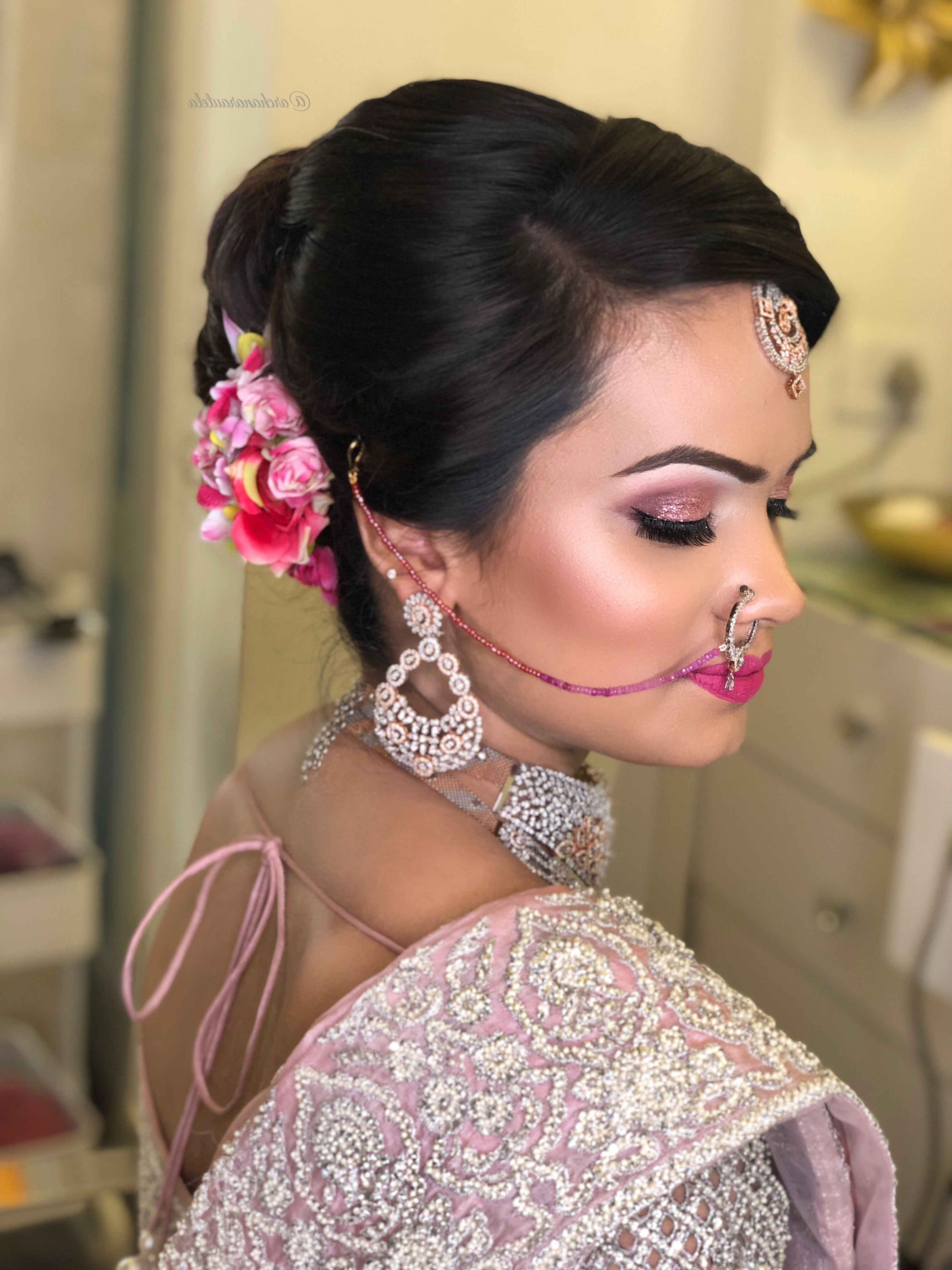Widely Used Sides Parted Wedding Hairstyles For The Neat Flow And The ✨✨Highlight On Fleek 💓👰🏼💓#bridetobe Pink (View 19 of 20)
