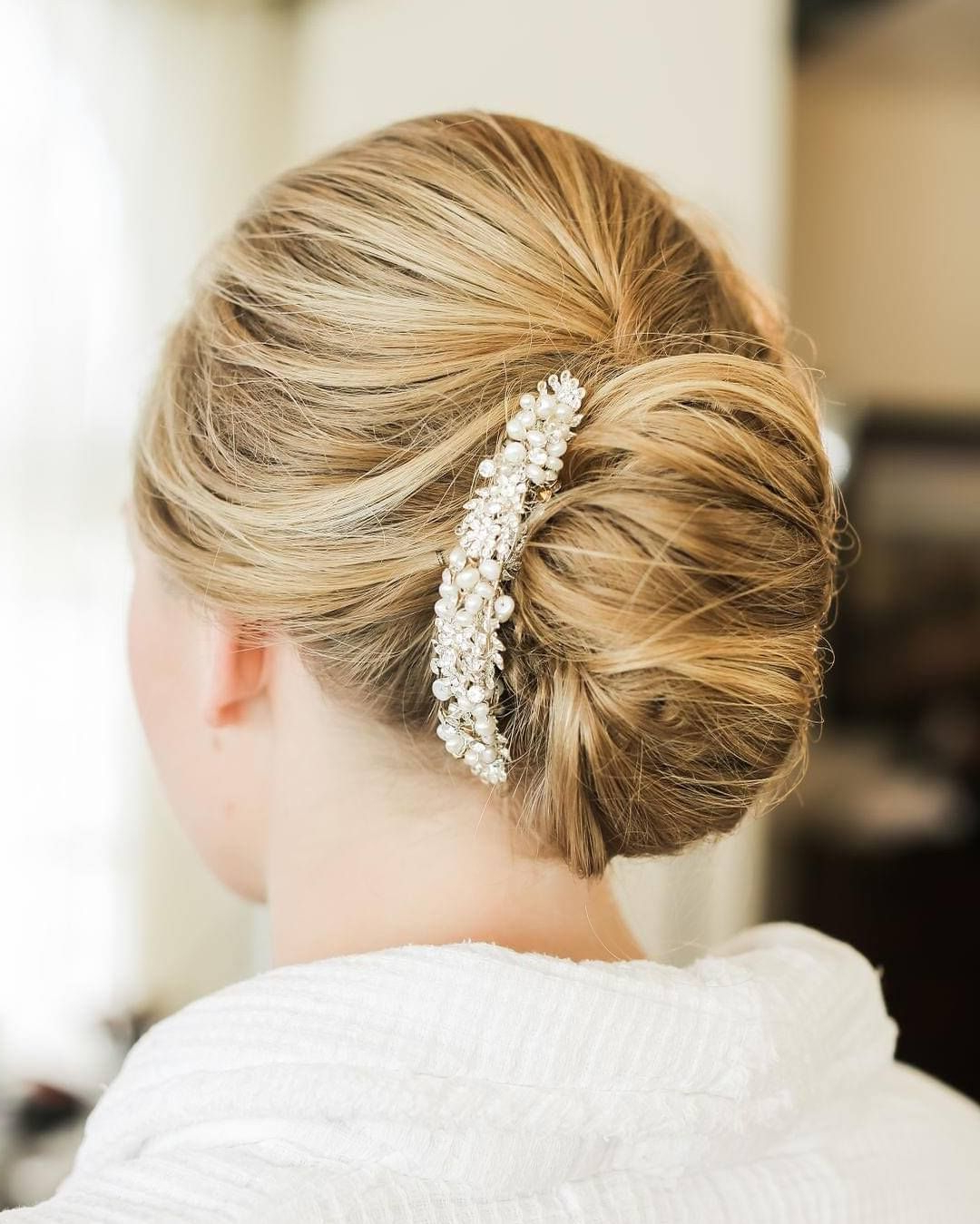 Womens Hairstyles Long Red Intended For Famous Undone Low Bun Bridal Hairstyles With Floral Headband (View 6 of 20)