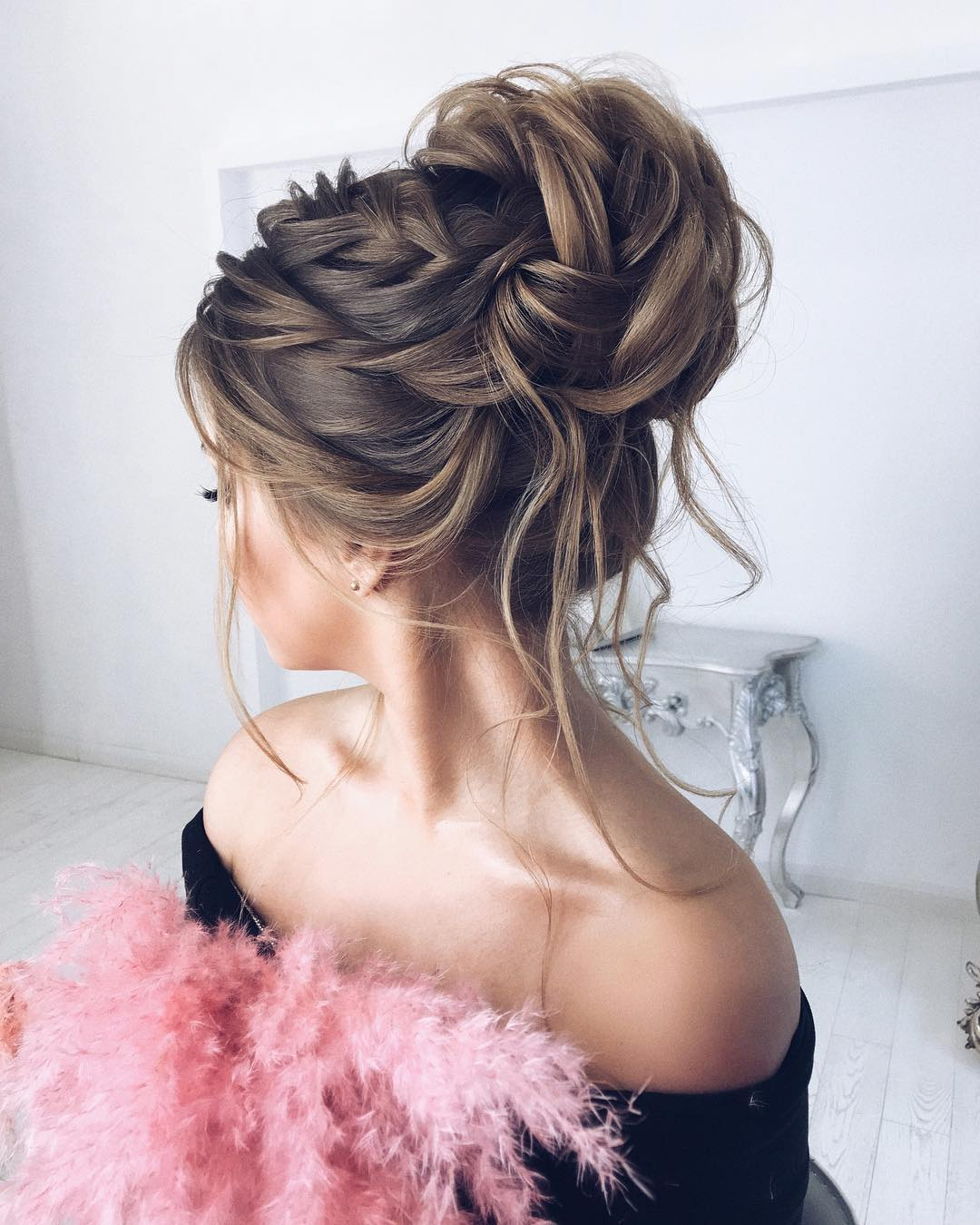 10 Gorgeous Prom Updos For Long Hair, Prom Updo Hairstyles 2019 With Famous Bun And Three Side Braids Prom Updos (Gallery 11 of 20)