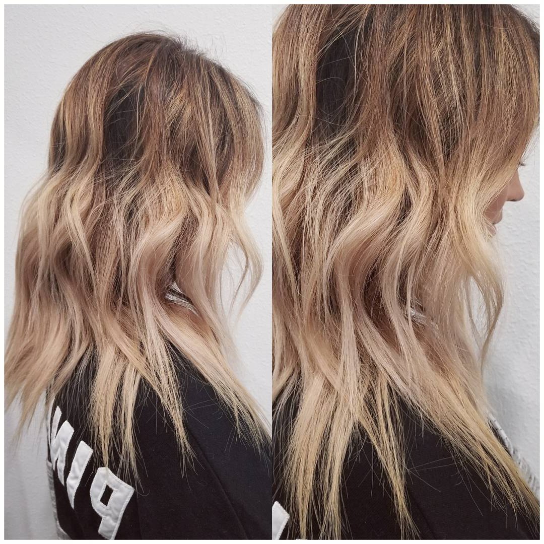10 Wavy Shoulder Length Hairstyles 2019 Inside Well Liked Curly Golden Brown Balayage Long Hairstyles (View 1 of 20)