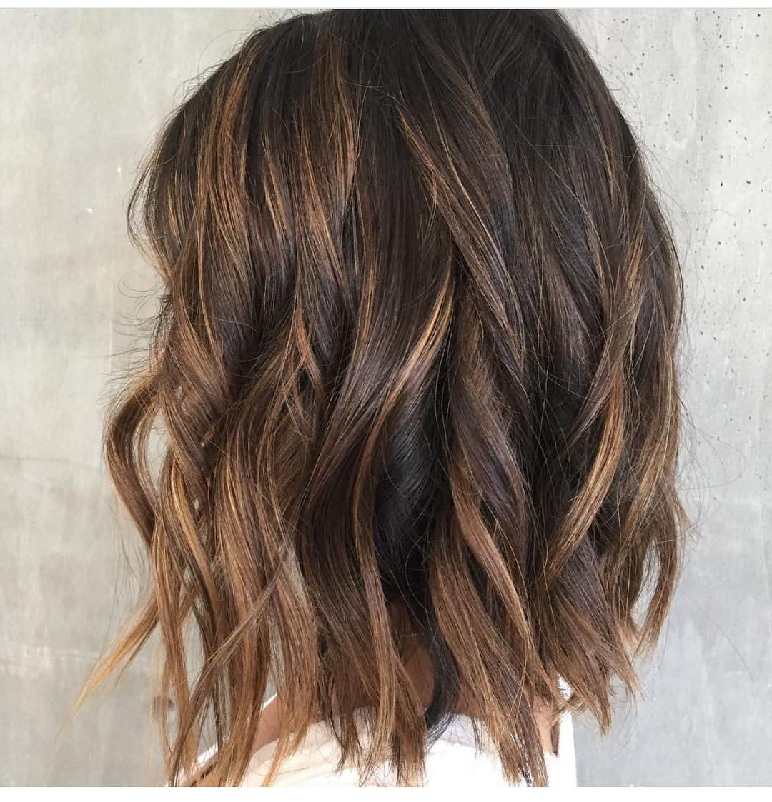 10 Wavy Shoulder Length Hairstyles 2019 Pertaining To 2019 Curly Golden Brown Balayage Long Hairstyles (View 2 of 20)