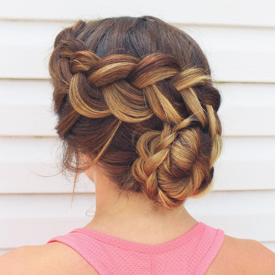 14 Prom Hairstyles For Long Hair That Are Simply Adorable Regarding Well Known Bun And Three Side Braids Prom Updos (Gallery 10 of 20)