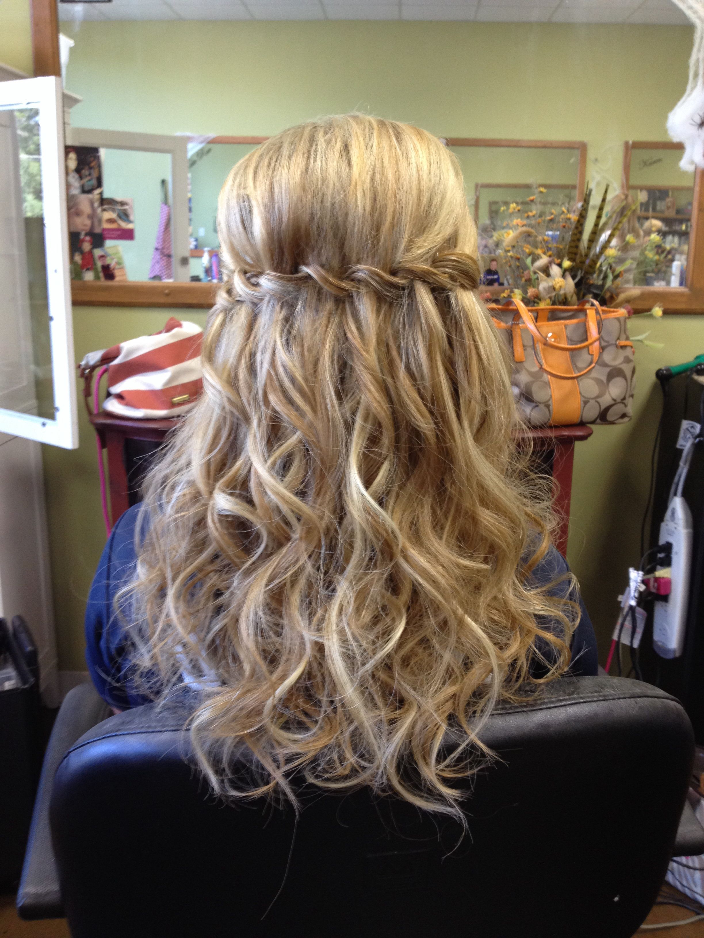 2017 Chic Waterfall Braid Prom Updos Within Waterfall Braid With Extensions, Curls, Half Up, Bridal Party (View 2 of 20)