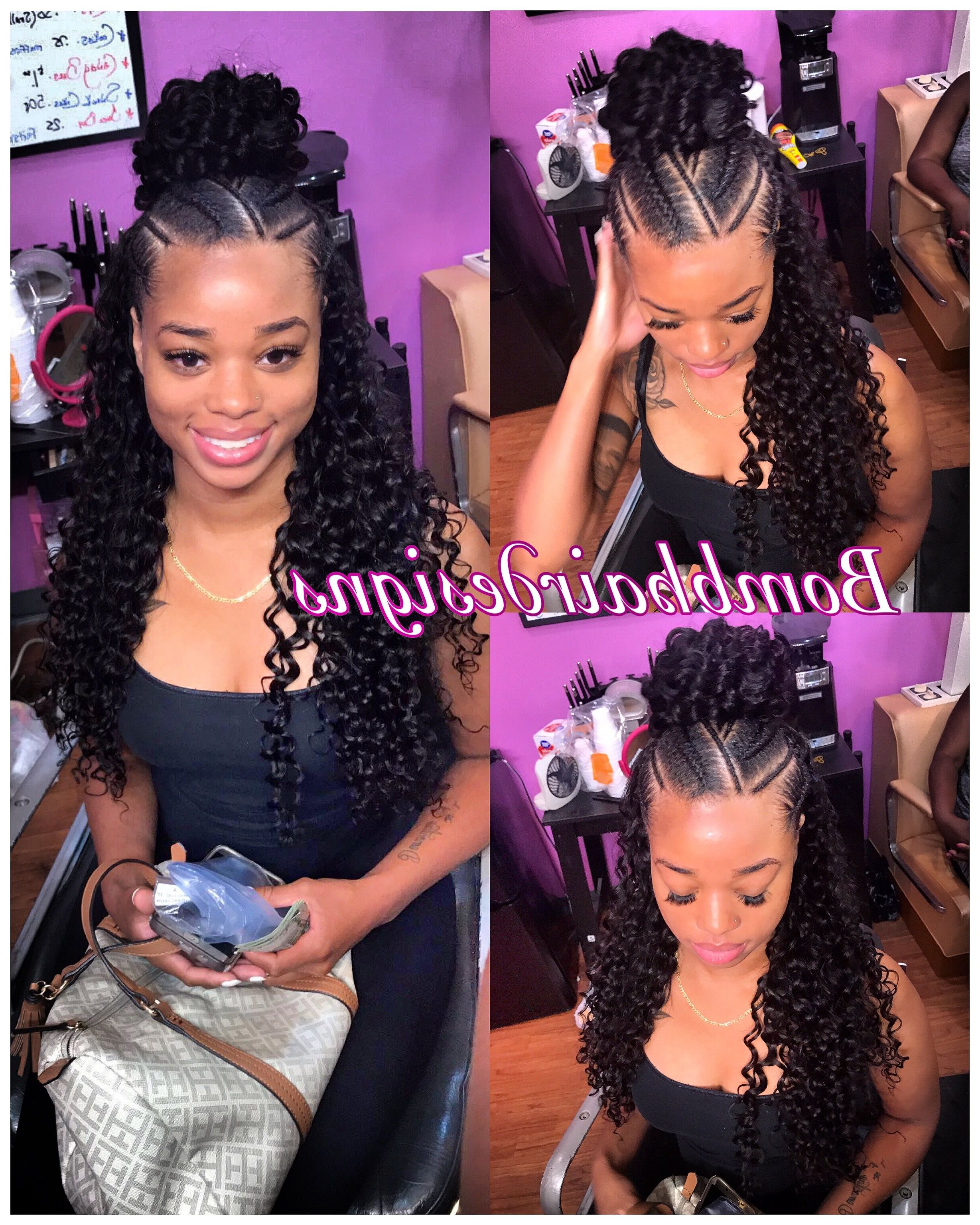 2017 Curly Half Updo With Ponytail Braids For Half Up Half Down Bun And Feeder Braids Curly Hair Sewin (Gallery 1 of 20)