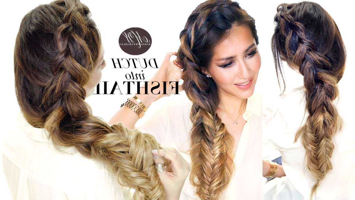 2017 Double Fishtail Braids For Prom Throughout How To : Big Messy Braid Tutorial (View 16 of 20)