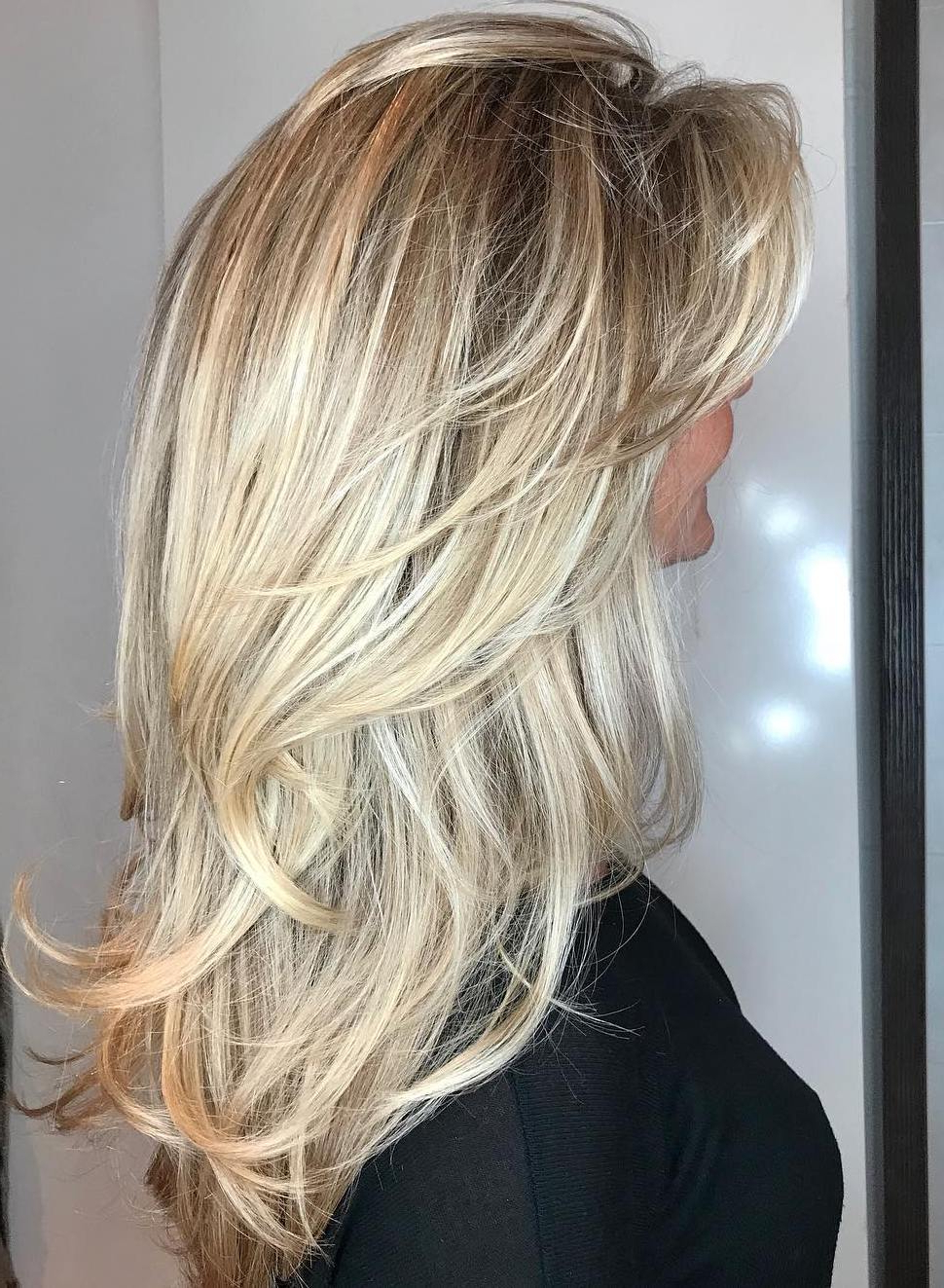 2018 Blonde Textured Haircuts With Angled Layers Intended For 50 Cute Long Layered Haircuts With Bangs  (View 4 of 20)