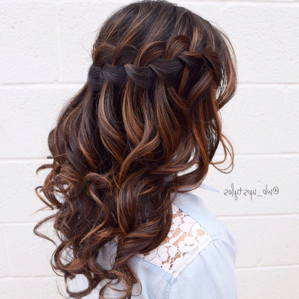 2018 Chic Waterfall Braid Prom Updos Within Waterfall Braid! For More Hair Inspiration Visit My Instagram (Gallery 5 of 20)