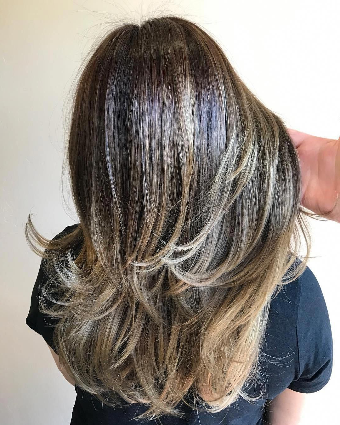 2018 Choppy Chestnut Locks For Long Hairstyles Regarding Two Tier Layered Haircut #longhairstyleslayers (Gallery 4 of 20)