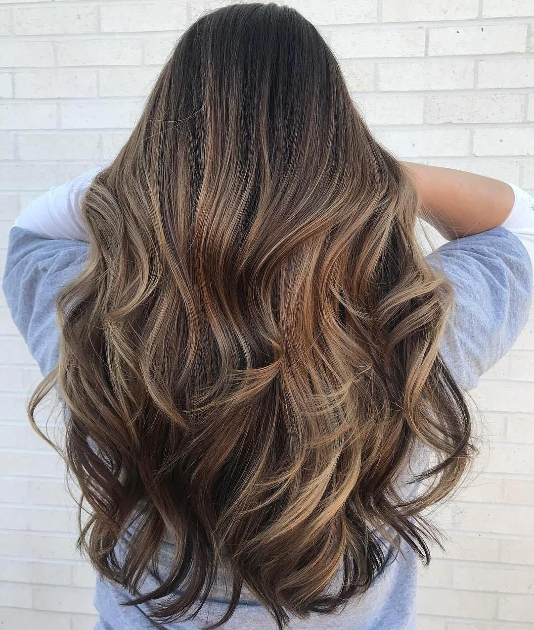 2018 Curly Golden Brown Balayage Long Hairstyles Pertaining To Long Wavy Light Brown Balayage Hair #longhairstyles (View 5 of 20)