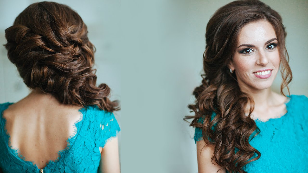 2018 Side Swept Brunette Waves Hairstyles For Prom In Side Swept Curls Wedding Prom Hairstyles Tutorial – Youtube (Gallery 6 of 20)