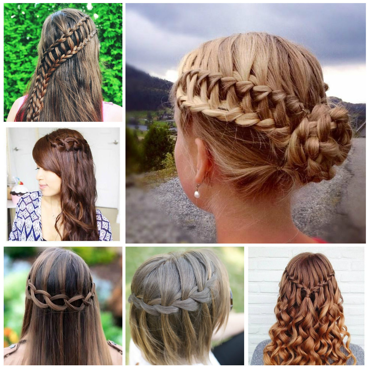2019 Haircuts, Hairstyles Within Favorite Chic Waterfall Braid Prom Updos (View 14 of 20)