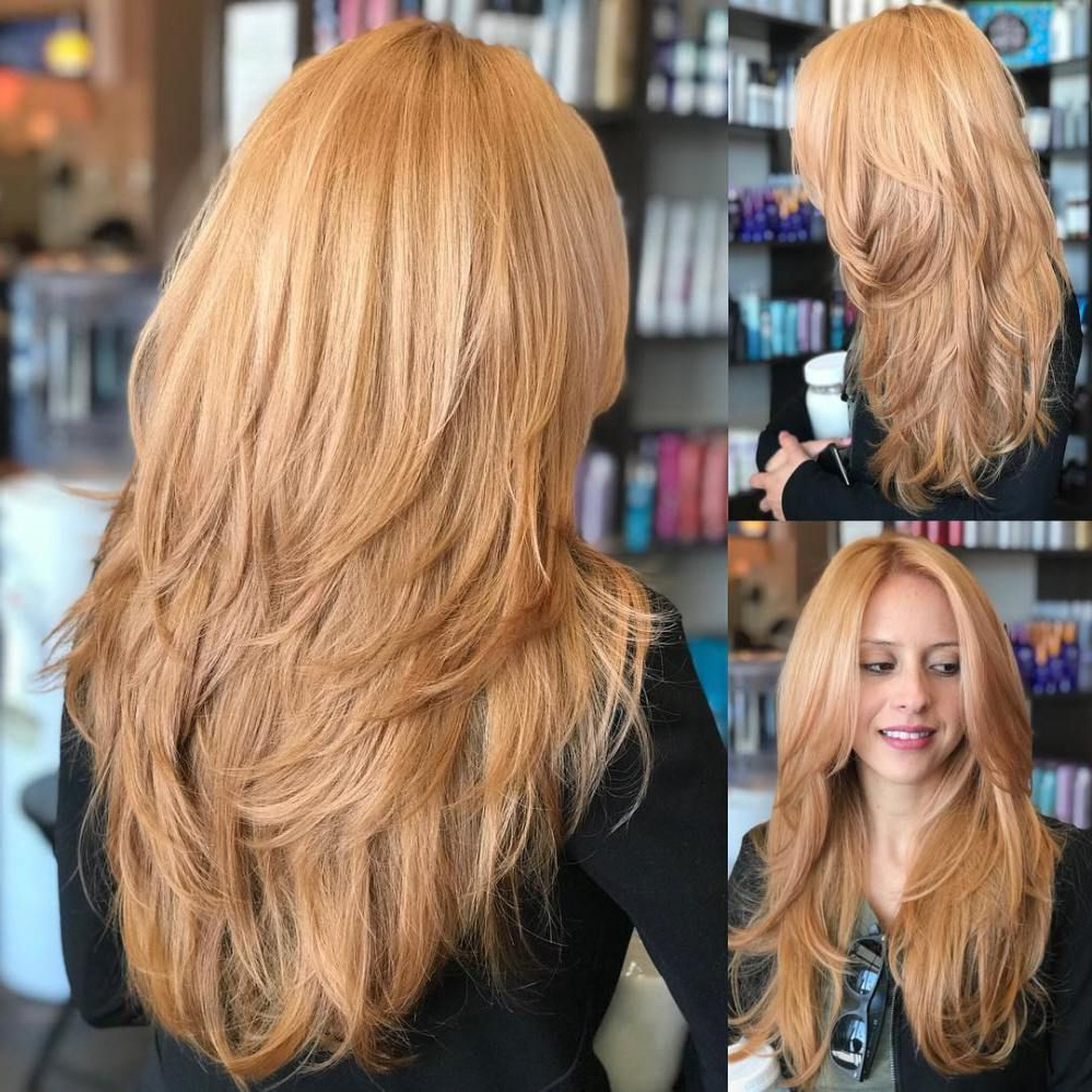 2019 Long Feathered Strawberry Blonde Haircuts For Long Feathered Strawberry Blonde Cut #newhaircut (Gallery 1 of 20)