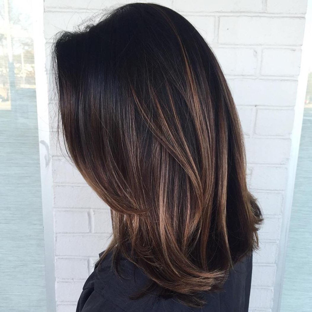 2019 Long Thick Black Hairstyles With Light Brown Balayage Intended For 60 Chocolate Brown Hair Color Ideas For Brunettes (Gallery 5 of 20)