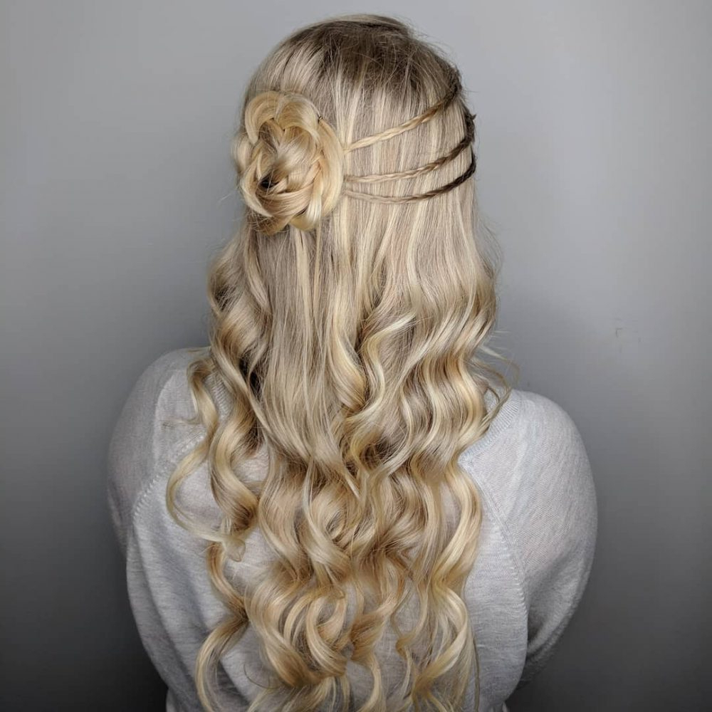 27 Prettiest Half Up Half Down Prom Hairstyles For 2019 Pertaining To Famous Half Prom Updos With Bangs And Braided Headband (View 2 of 20)
