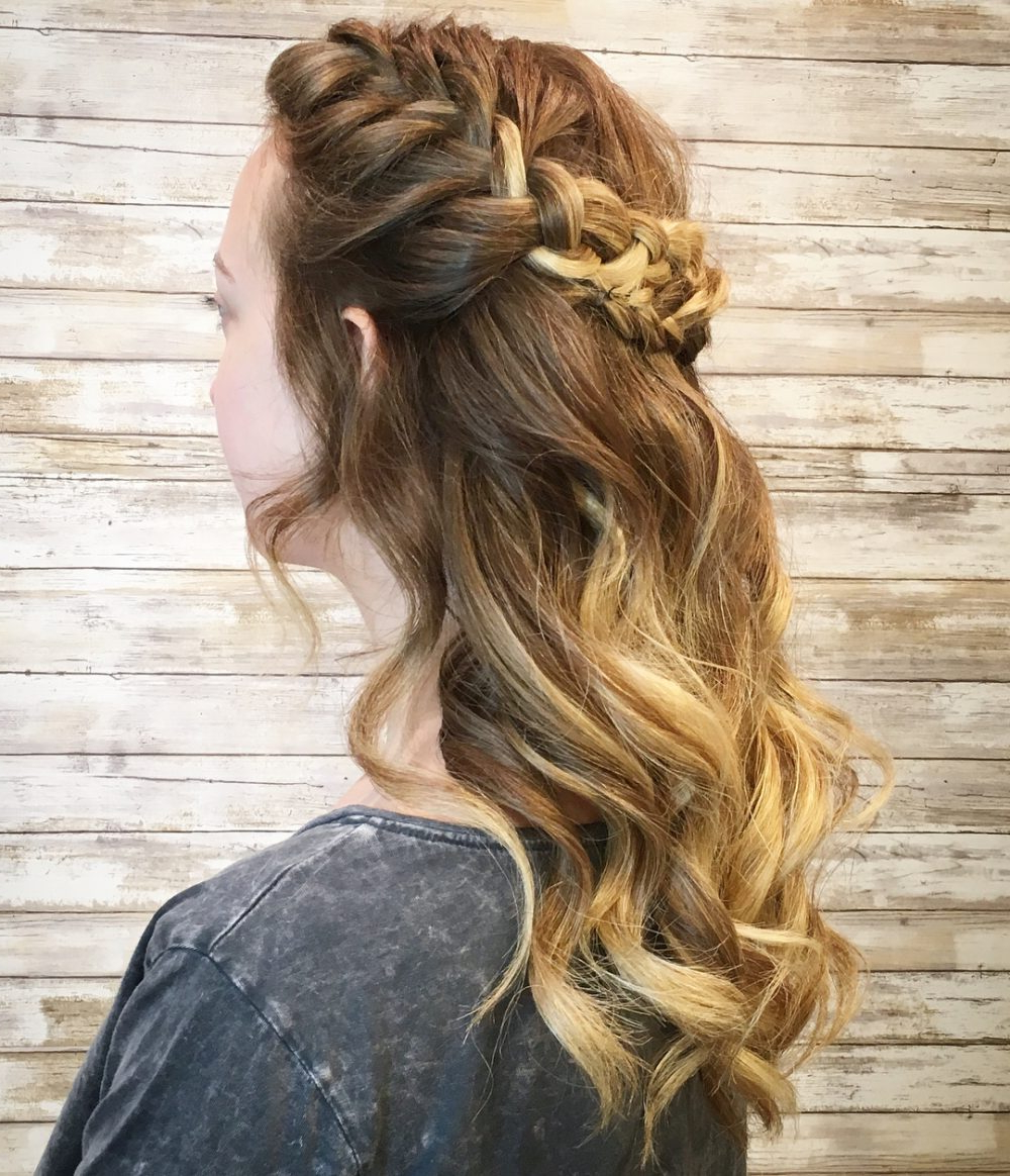 32 Cutest Prom Hairstyles For Medium Length Hair For 2019 Intended For 2017 Gorgeous Waved Prom Updos For Long Hair (Gallery 16 of 20)