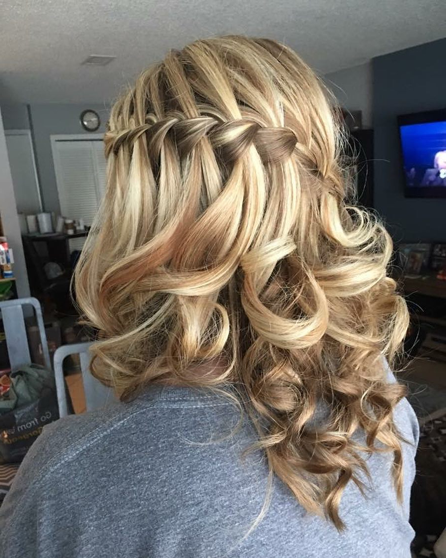 32 Cutest Prom Hairstyles For Medium Length Hair For 2019 With 2017 Chic Waterfall Braid Prom Updos (View 16 of 20)
