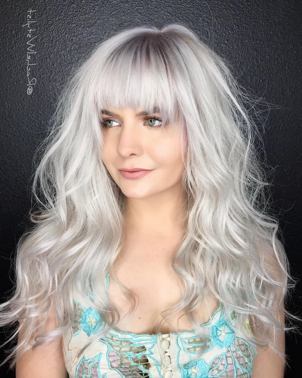 33 Most Flattering Hairstyles For Round Faces Of 2019 Regarding Favorite Messy Loose Curls Long Hairstyles With Voluminous Bangs (Gallery 19 of 20)