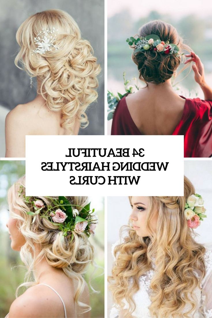 34 Beautiful Wedding Hairstyles With Curls – Weddingomania With Most Up To Date Charming Waves And Curls Prom Hairstyles (Gallery 10 of 20)