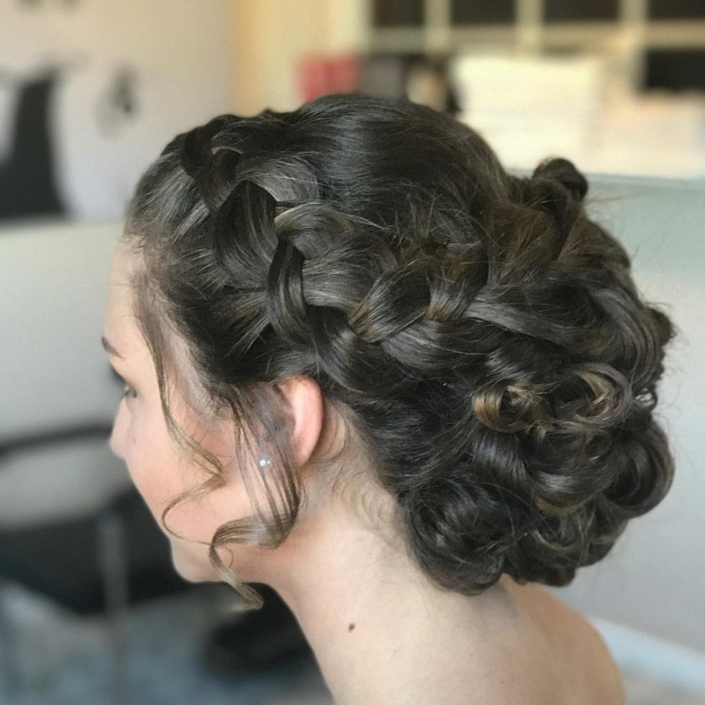 37 Inspiring Prom Updos For Long Hair For 2019 #inspo In Famous Classic Prom Updos With Thick Accent Braid (View 7 of 20)