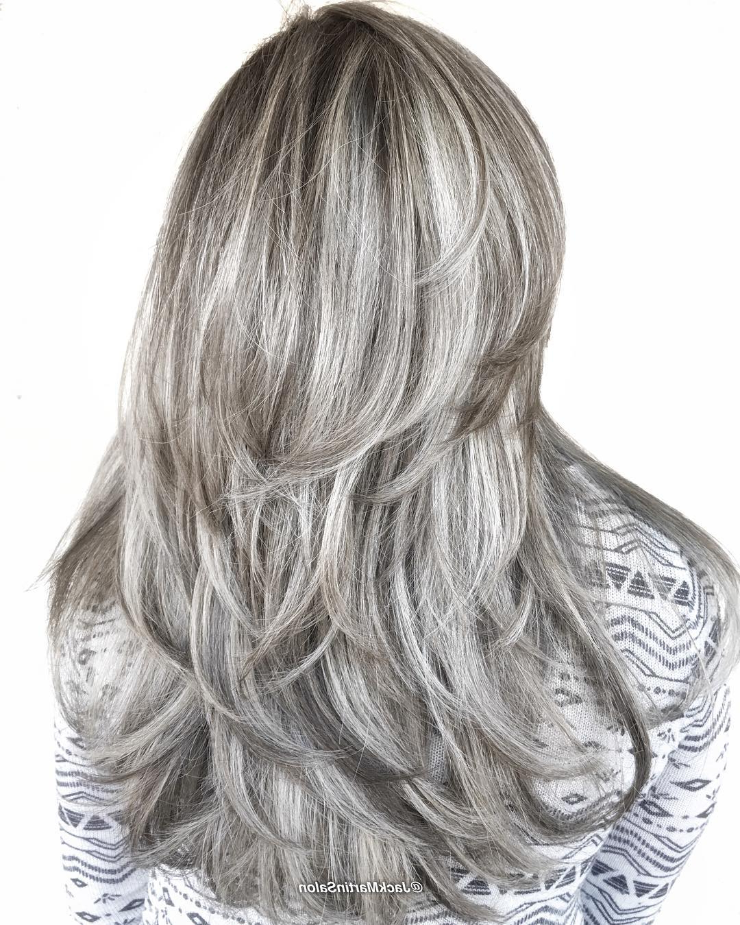40 Hair Color Ideas That Are Perfectly On Point For Most Up To Date Loose Layers Hairstyles With Silver Highlights (View 4 of 20)