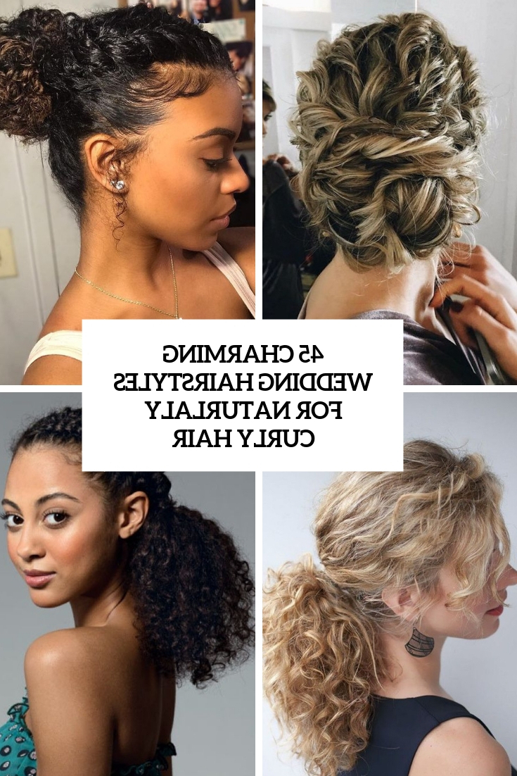 45 Charming Bride's Wedding Hairstyles For Naturally Curly Hair With Well Known Side Bun Prom Hairstyles With Black Feathers (Gallery 16 of 20)