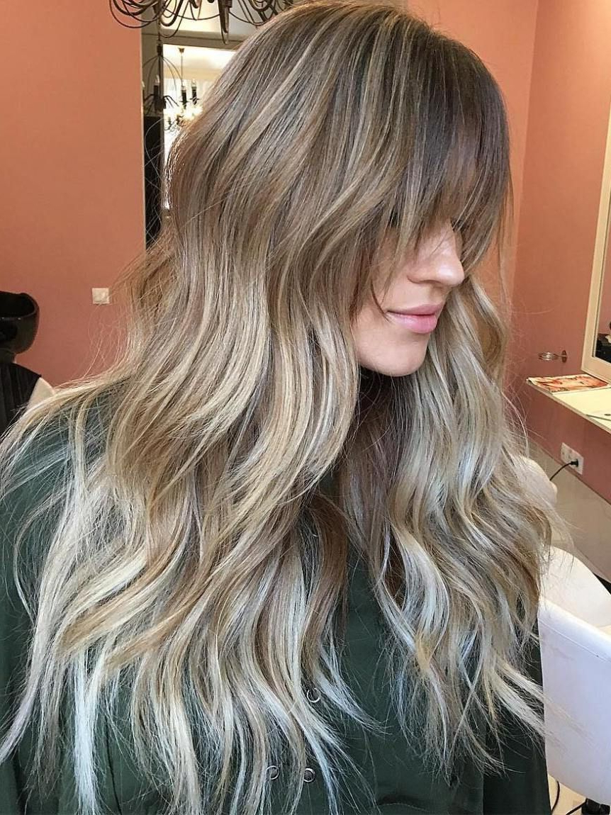 50 Cute And Effortless Long Layered Haircuts With Bangs In 2019 For Favorite Long Dark Hairstyles With Blonde Contour Balayage (Gallery 2 of 20)