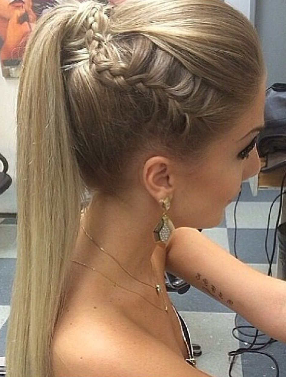 Amazing Side Braid Picked Up Into A Well Fitted Ponytail With Newest Textured Side Braid And Ponytail Prom Hairstyles (Gallery 3 of 20)