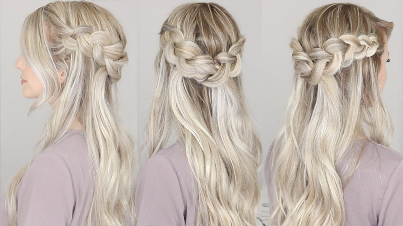Best And Newest Floral Braid Crowns Hairstyles For Prom With Half Up Dutch Crown Braid Hairstyle (View 3 of 20)