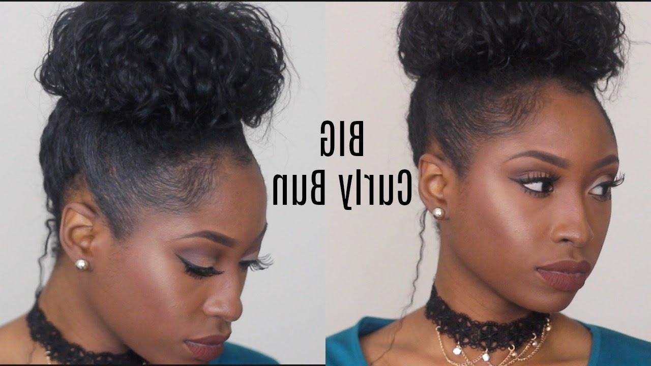 Big Curly Bun Hack With Short/medium Natural Hair (all Hair Types For Most Up To Date Big Curly Bun Prom Updos (View 18 of 20)