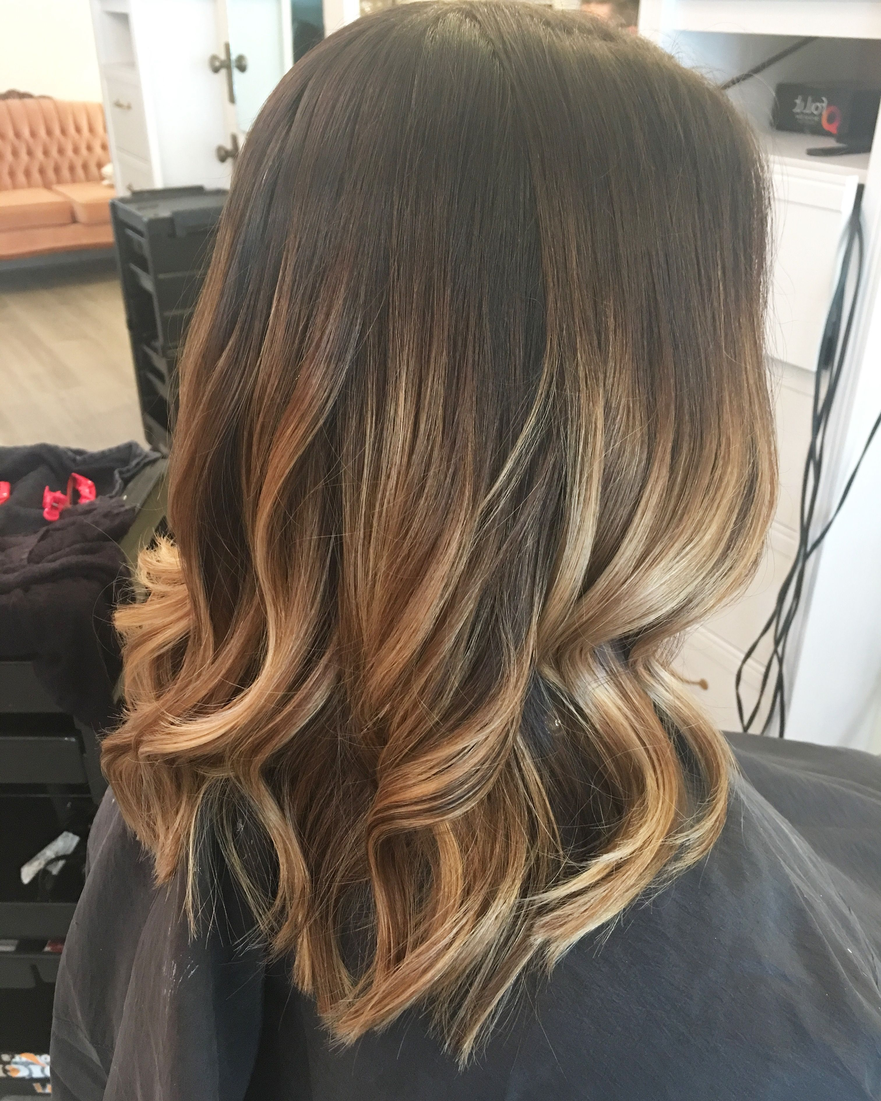 Blonde Balayage Caramel Warm Tones Dark Roots Brunette Curls Lob Regarding Preferred Warm Toned Brown Hairstyles With Caramel Balayage (View 6 of 20)
