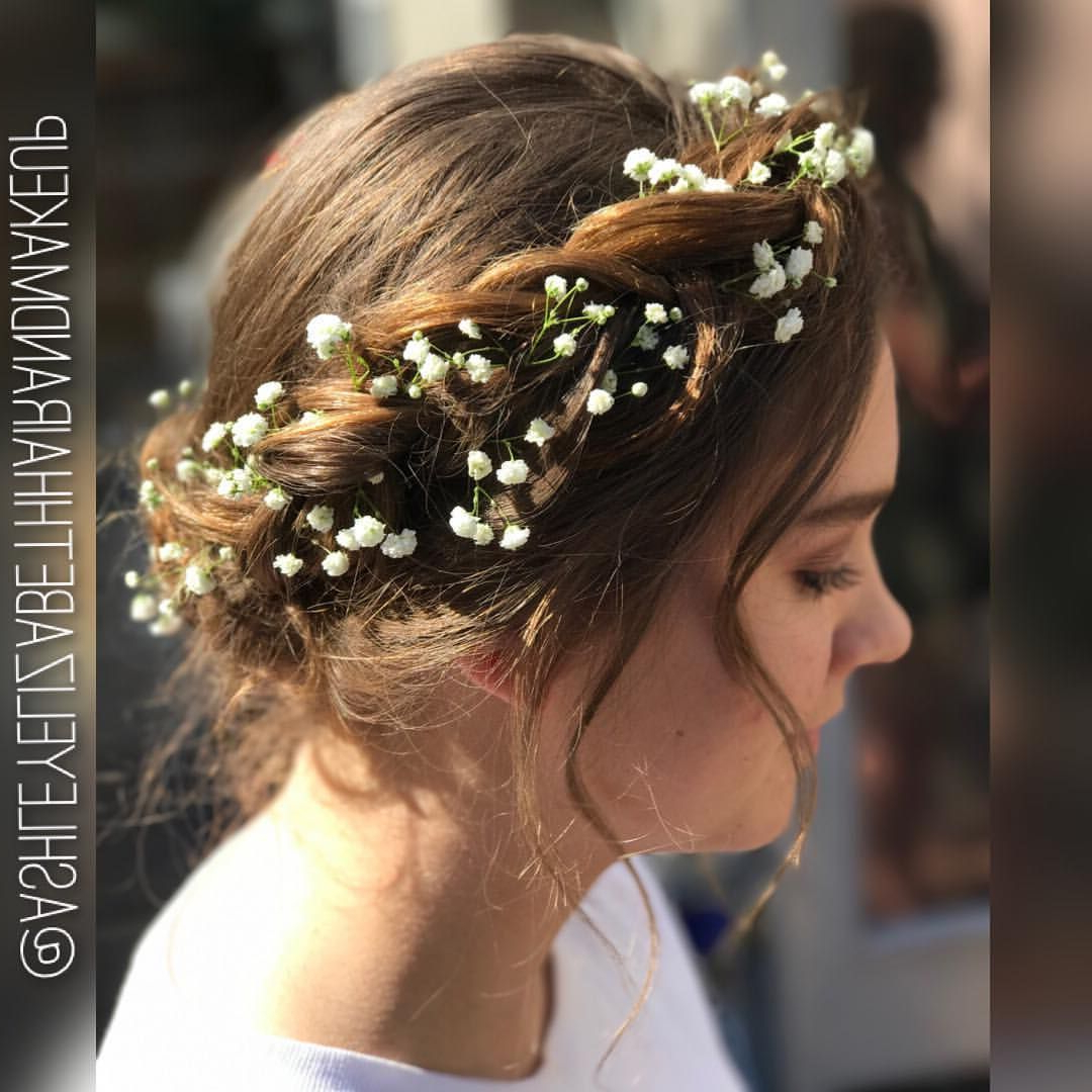 Braided Crown – Flower Crown – Hand Placed Floral Crown – Prom Hair Throughout Preferred Floral Braid Crowns Hairstyles For Prom (View 4 of 20)