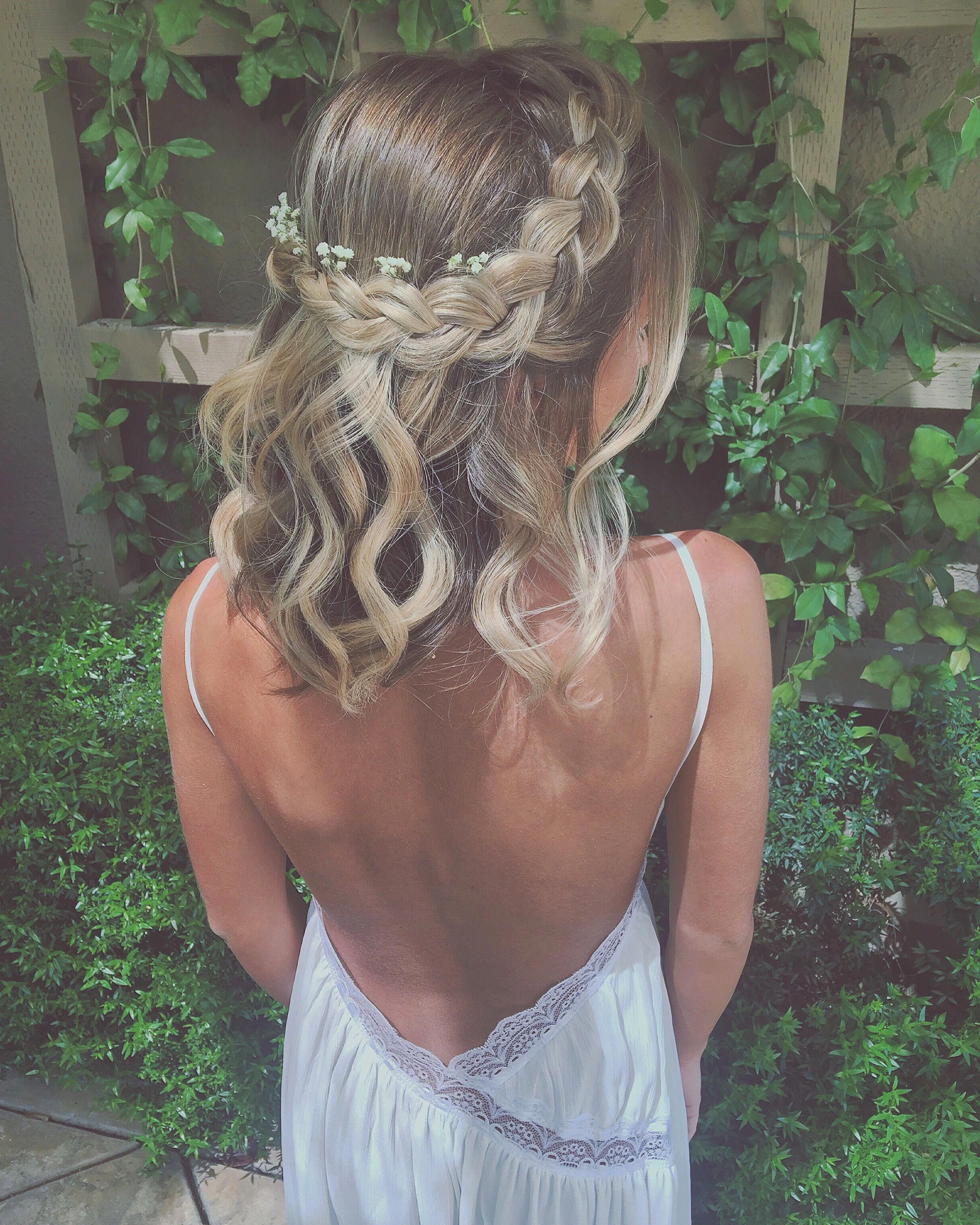 Braided Crown With Baby's Breath Flowers #braidedhairstyles (View 5 of 20)