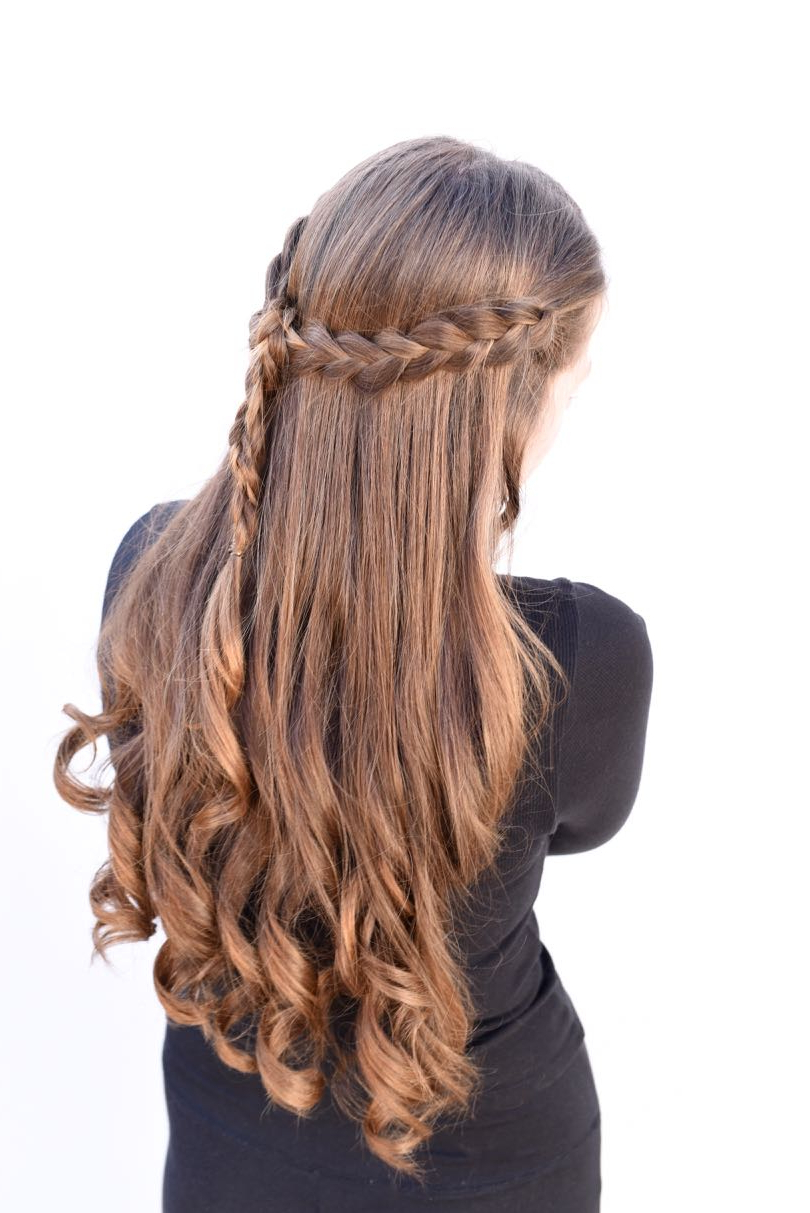 Braided Half Up Half Down Tutorial {Easy + Looks Great} For 2018 Curly Half Updo With Ponytail Braids (View 10 of 20)