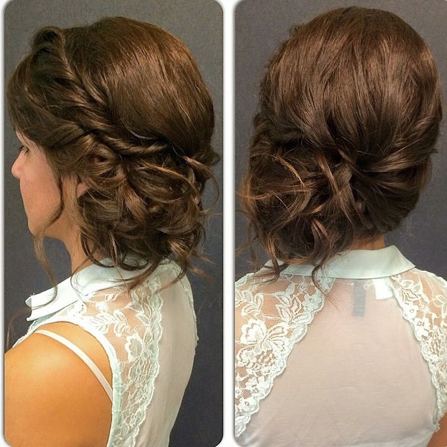 Braided To The Side Updo Brunette Bridesmaid Curled Hair (View 5 of 20)