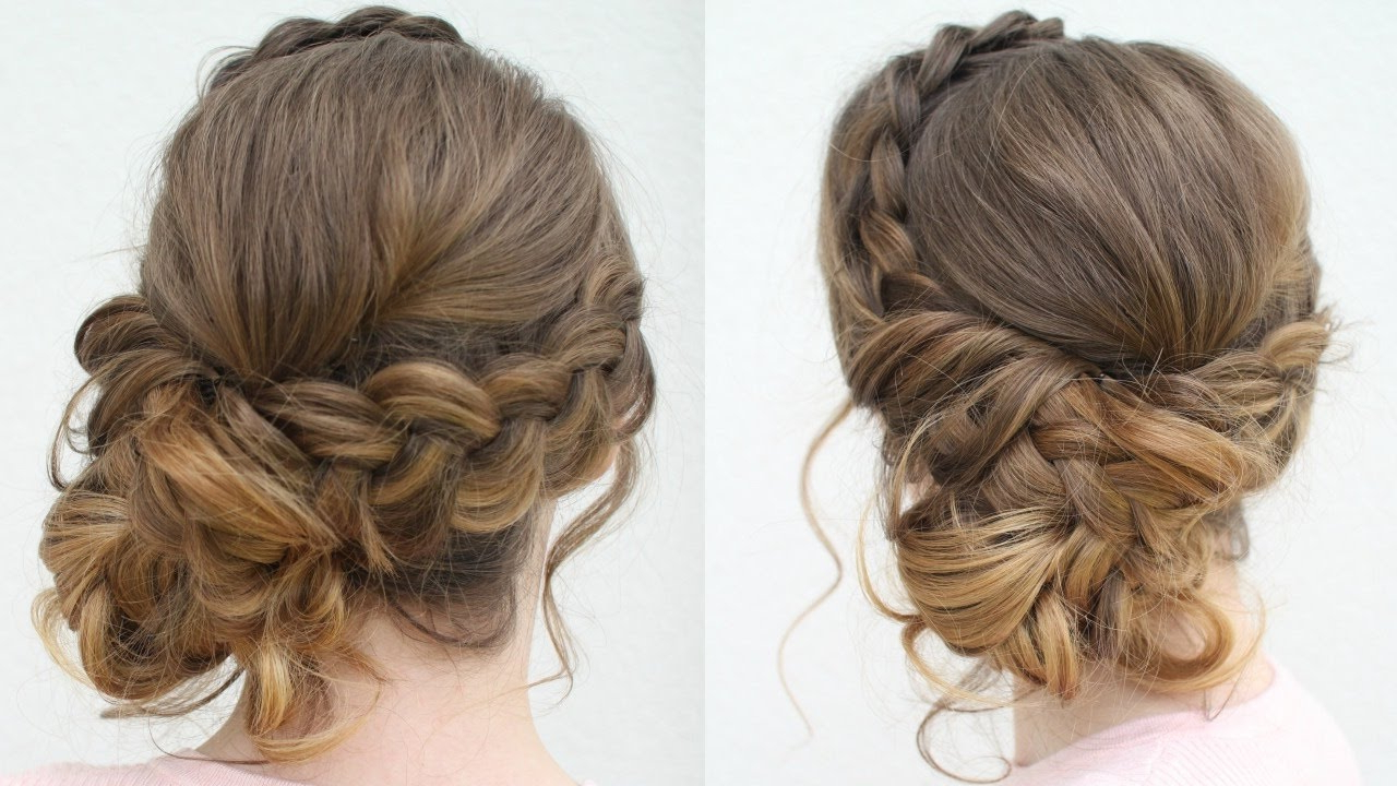 Braidsandstyles12 – Youtube With Widely Used Braided Chignon Prom Hairstyles (View 6 of 20)