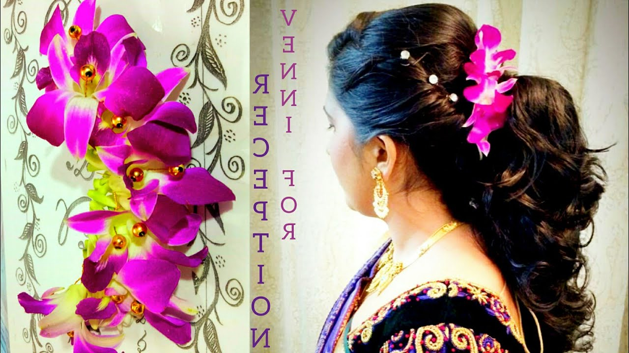Bridal Venni For Wedding Reception Hairstyles With Orchid Flowers With Current Side Bun Prom Hairstyles With Orchids (View 2 of 20)