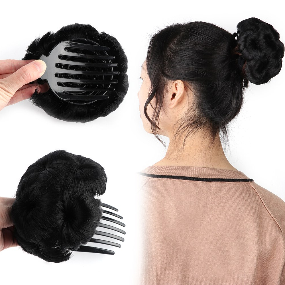 Bun Donut Chignon With Plactic Comb For Women High Temperature Throughout Fashionable Sculpted Orchid Bun Prom Hairstyles (View 3 of 20)