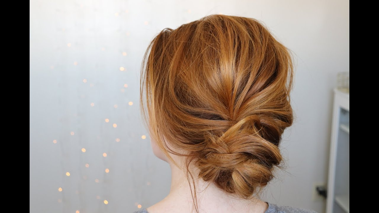 Chic Messy Low Bun – Youtube Intended For Newest Twisted Low Bun Hairstyles For Prom (View 4 of 20)