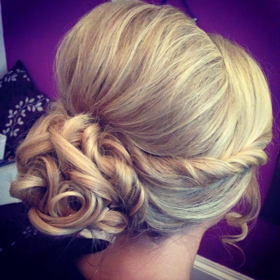 Curled Updo. Blonde. Chignon. Coils. Sidebun (View 10 of 20)