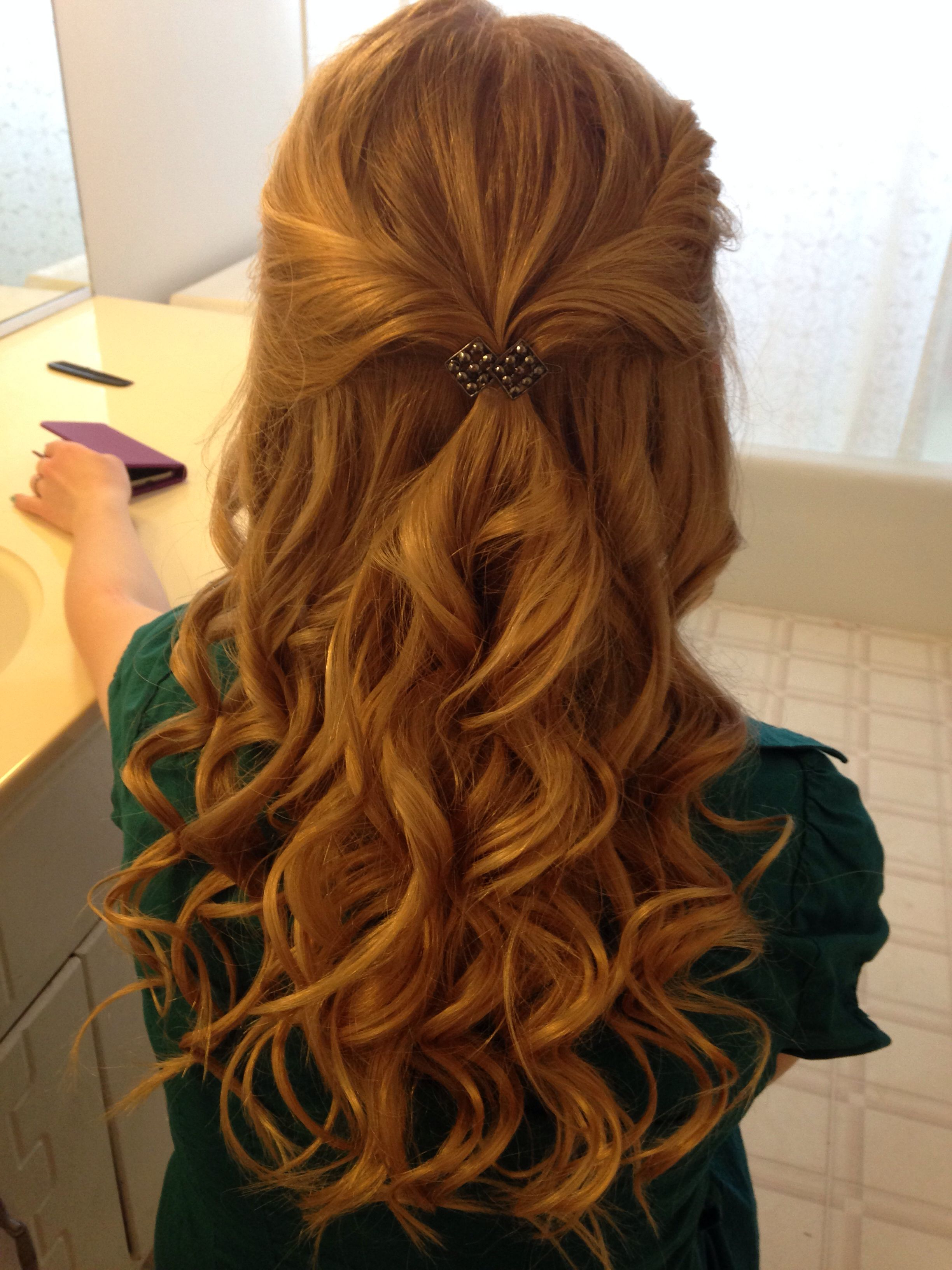 Curly Prom Hair. Blonde. Half Up. Down. Simple. Homecoming (View 10 of 20)