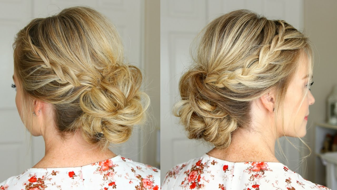 Current Braid And Fluffy Bun Prom Hairstyles Inside Lace Braid Homecoming Updo (View 4 of 20)